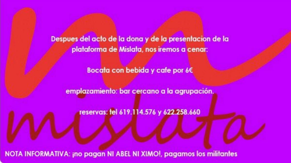 Cartel de la militancia en apoyo a Pedro de Mislata. (Foto: Twitter)