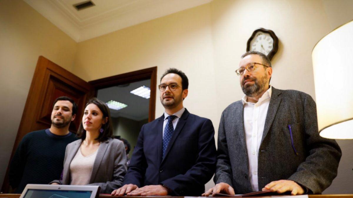 Alberto Garzón, Irene Montero, Antonio Hernando y Juan Carlos Girauta en el Registro del Congreso (Foto: Twitter C's)