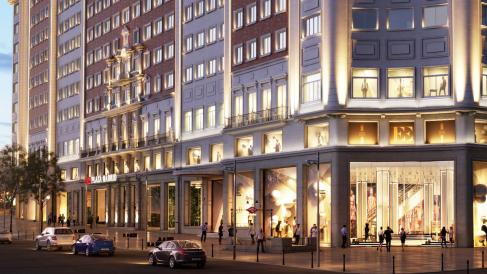 La entrada principal a la zona comercial será en Plaza España con Gran Vía. (Haz clic para ver fotogalería)