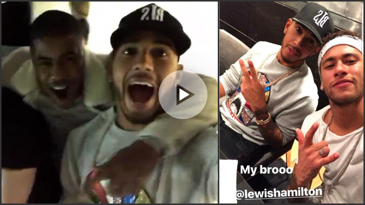 Lewis Hamilton y Neymar celebraron juntos el triunfo del Barça.