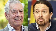 Mario Vargas Llosa y Pablo Iglesias. (Fotos: AFP)