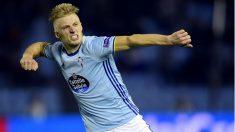 Wass celebra uno de los goles del Celta en la Europa League. (AFP)