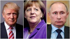 Donald Trump, Angela Merkel y Vladimir Putin.