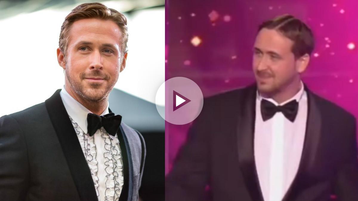 Ryan Gosling en la pasada edición de los premios Oscar y Ludwig Lehner, el falso Ryan Gosling que apareció en el Goldene Kamera.