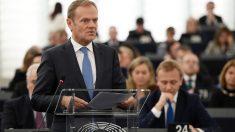 El presidente del Consejo Europeo, Donald Tusk, se dirige al pleno de la Eurocámara. (AFP)