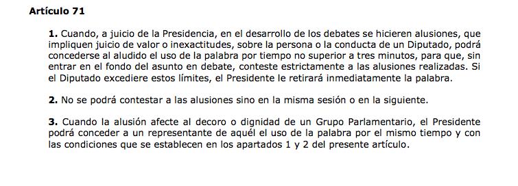 El artículo 71 del Reglamento del Congreso de los diputados