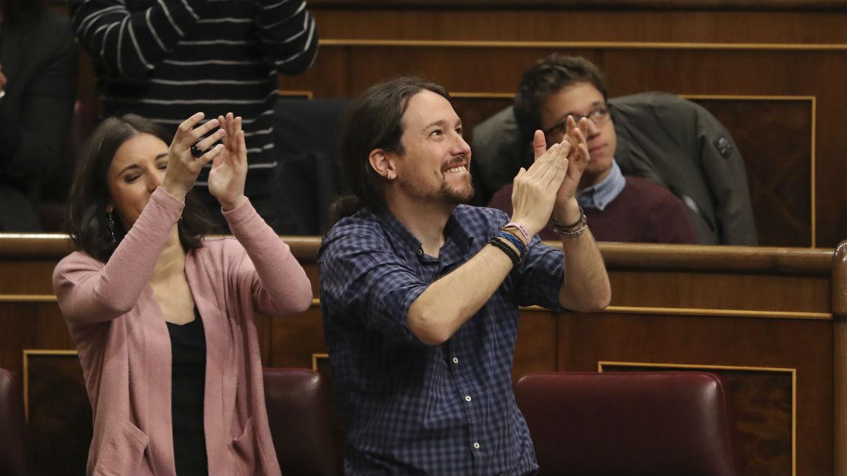 Bancada de Podemos en el Congreso (Foto: EFE).