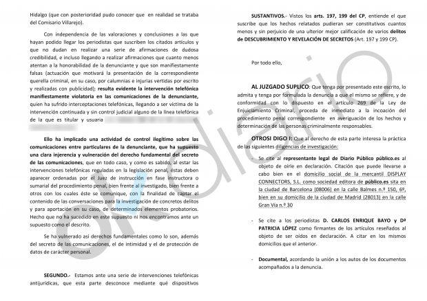 """Denuncia de Victoria Álvarez contra """"Público""""."""