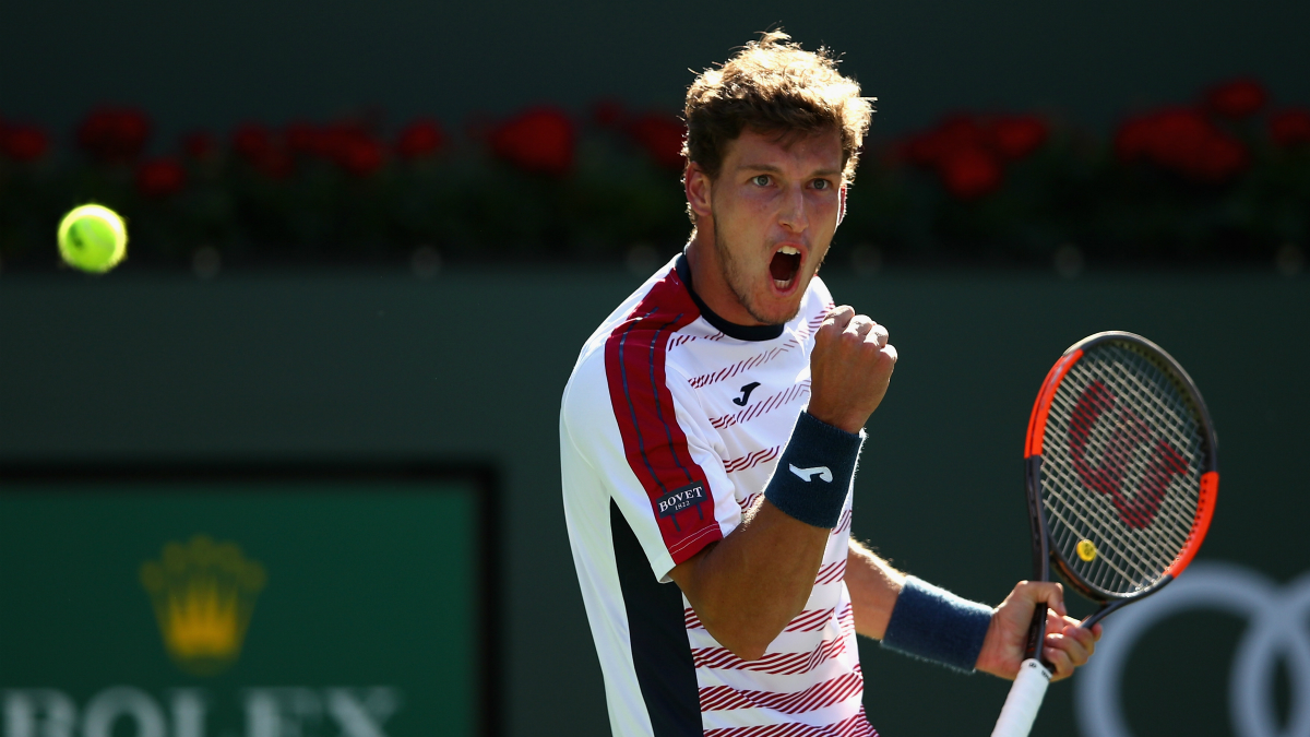 Pablo Carreño celebra un punto en Indian Wells. (Getty)