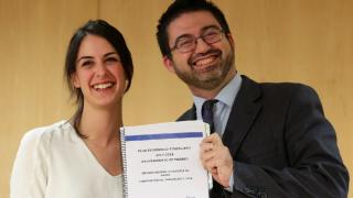 Rita Maestre y Carlos Sánchez Mato, en la rueda de prensa presentando el nuevo PEF. (Foto: Madrid)
