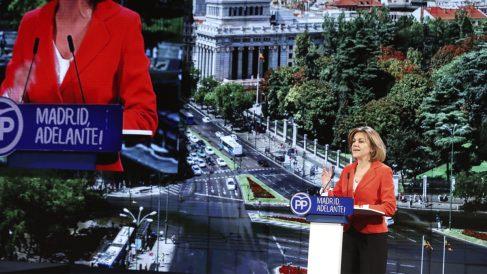 María Dolores de Cospedal interviene durante el Congreso regional del PP de Madrid. (Foto: EFE)