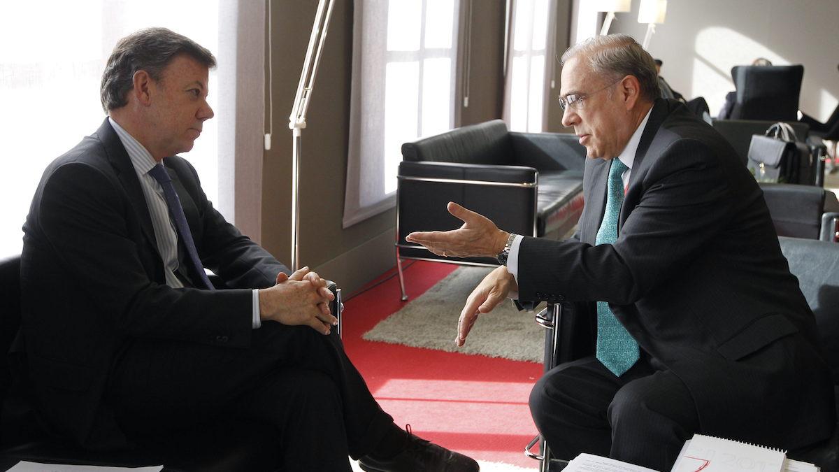 El presidente de Colombia, Juan Manuel Santos y el secretario general de la OCDE, Ángel Gurría. (Foto: EFE)