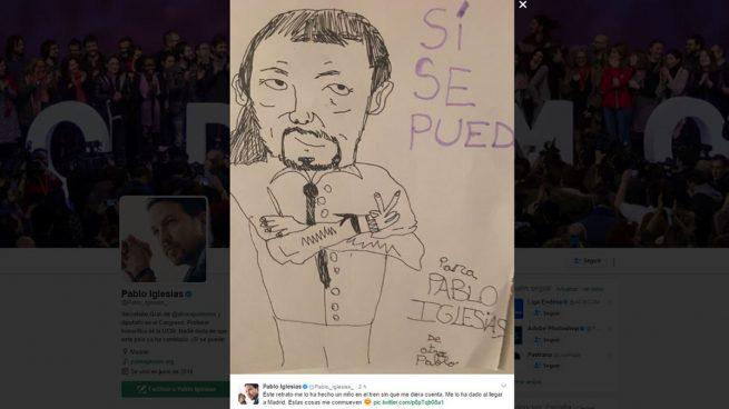 """Las redes se cachondean de Iglesias por """"sentirse conmovido"""" por este estrafalario retrato suyo"""