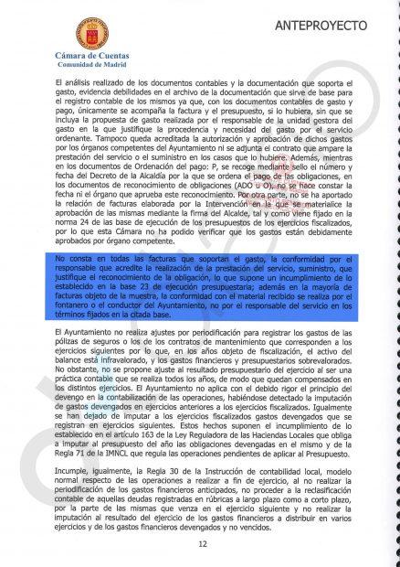Informe de la Cámara de Cuentas de Madrid sobre la gestión del ex alcalde popular de Nalvalcarnero, Baltasar Santos, entre el 2007 y 2008.