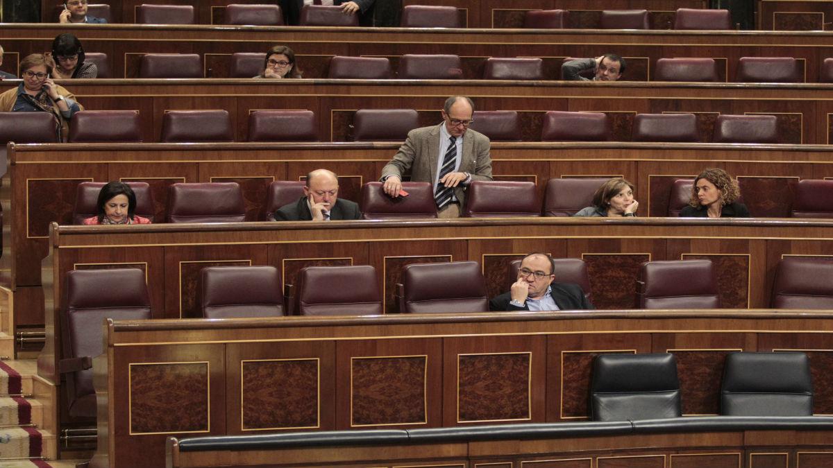 Diputados del PSOE, este martes, en el Congreso.