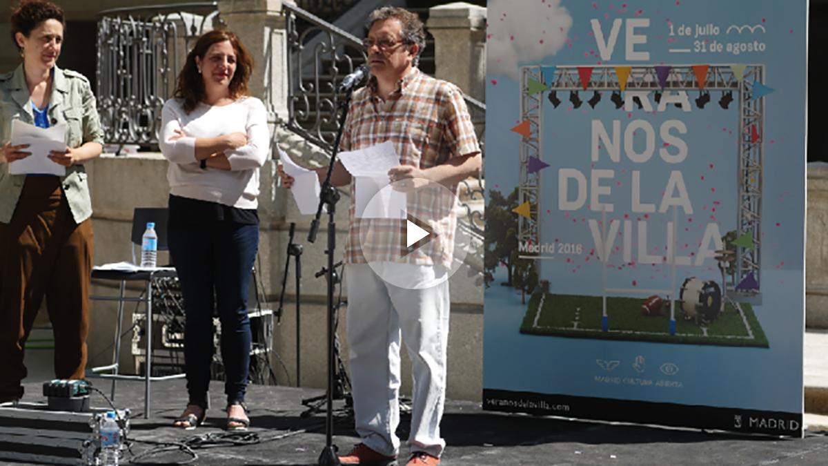 Santiago Eraso, director de Contenidos, y Celia Mayer, edil de Cultura, presentando la programación. (Foto: Madrid)