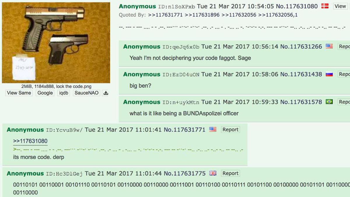 Críptico mensaje colgado en la red 4chan la víspera del atentado de Londres.