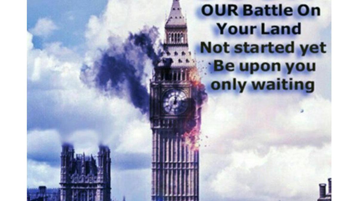 El Big Ben en llamas en una imagen difundida por las redes.