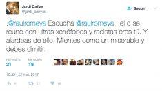 Ciudadanos le recuerda a Romeva que «el que se reúne con ultras xenófobos y racistas eres tú» (Foto: Twitter)