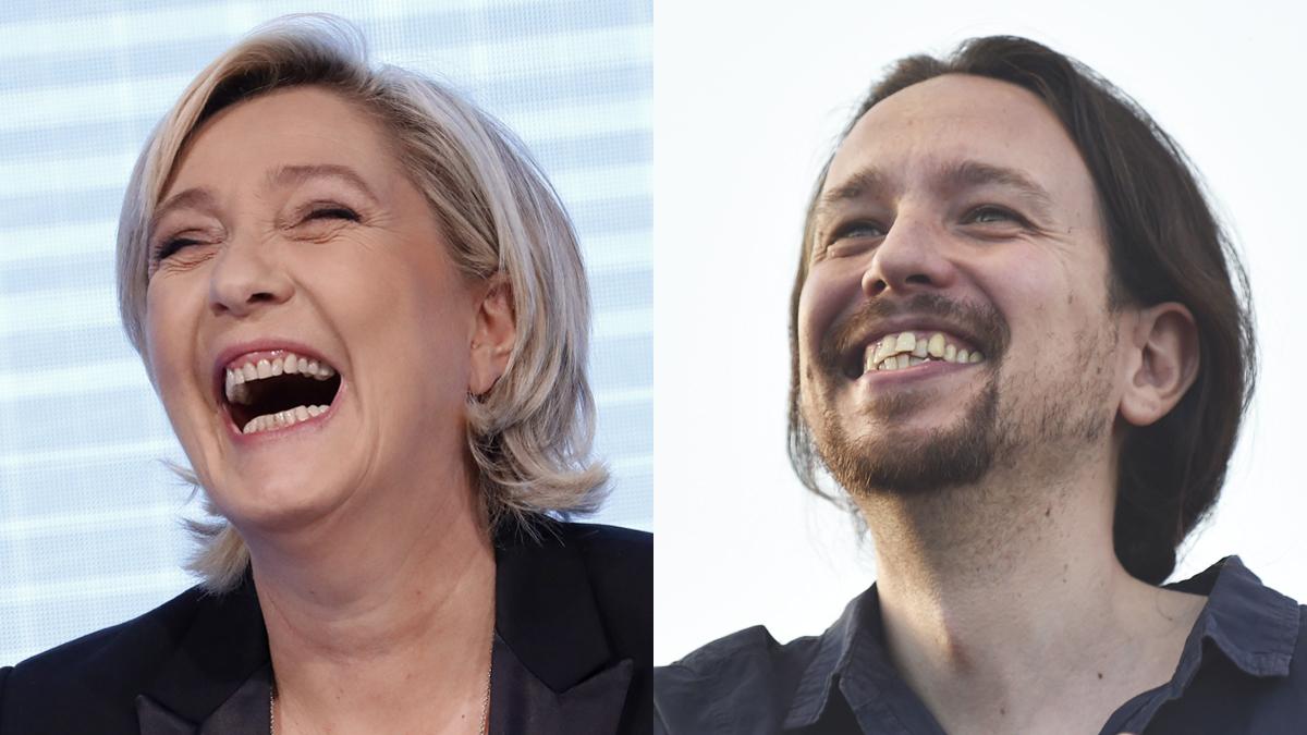 Marine Le Pen y Pablo Iglesias. (Fotos: AFP)
