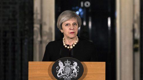 Theresa May comparece en Downing Street (Foto AFP)