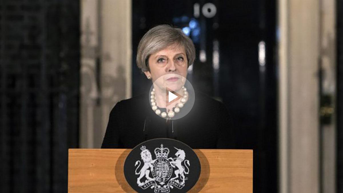 Theresa May comparece en Downing Street tras el atentado en Londres (Foto AFP)