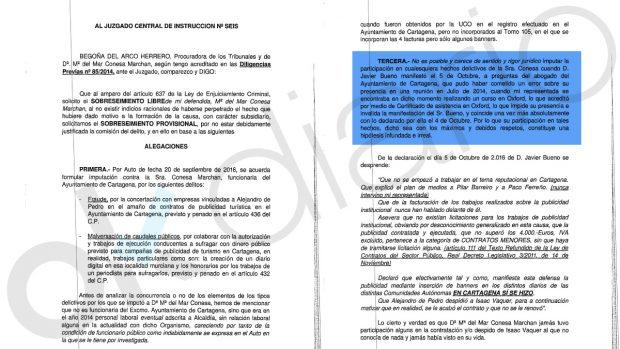 Recurso presentado por la ex asesora municipal de Cartagena, Mª del Mar Conesa.