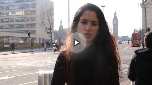 Raquel Tejero desde el puente de Westminster