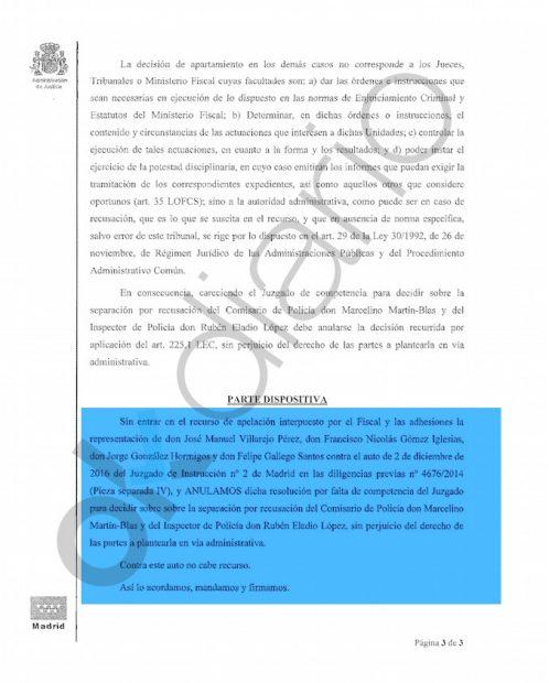 Auto de la Audiencia Provincial de Madrid anulando el auto del juez Arturo Zamarriego.