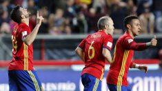 Diego Costa, celebrando su gol ante Israel.