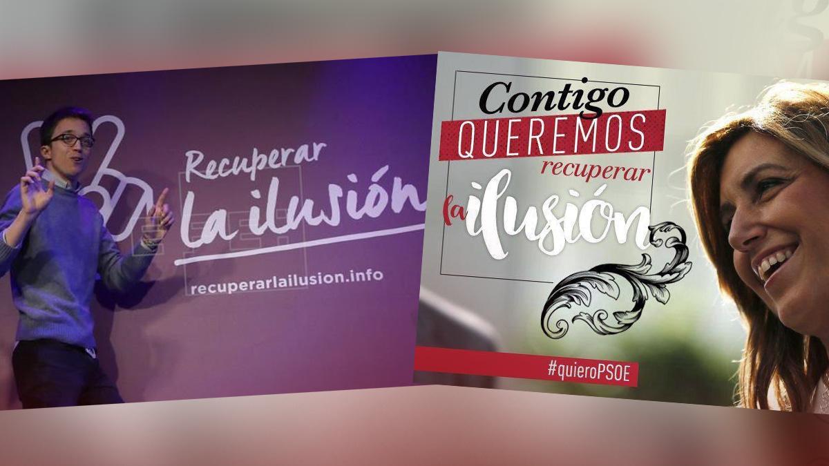 Imagen de las campañas de Iñigo Errejón y Susana Díaz. (Foto: OKD)
