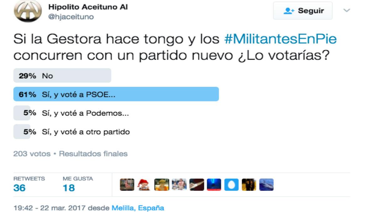 Tuit de un militante del PSOE de Melilla. (Foto: Twitter)