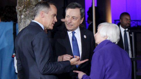 Los banqueros centrales de Reino Unido, Europa y EEUU. (Foto: Getty images)
