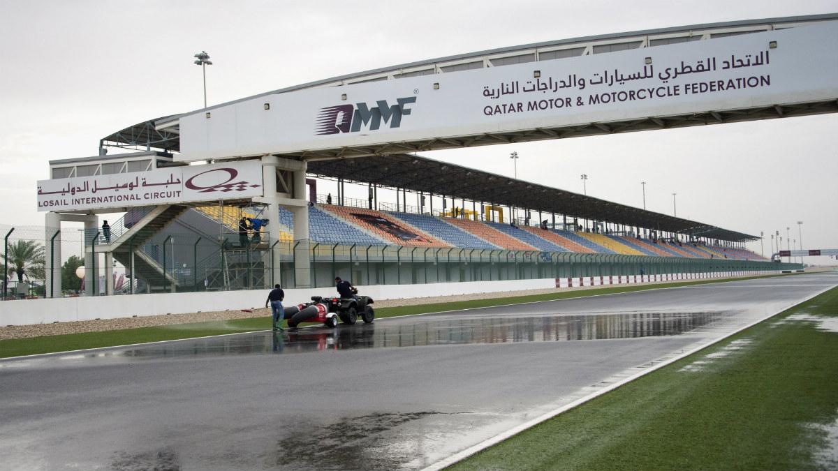 Las calificaciones del GP de Qatar se suspendieron por la lluvia. (Getty)