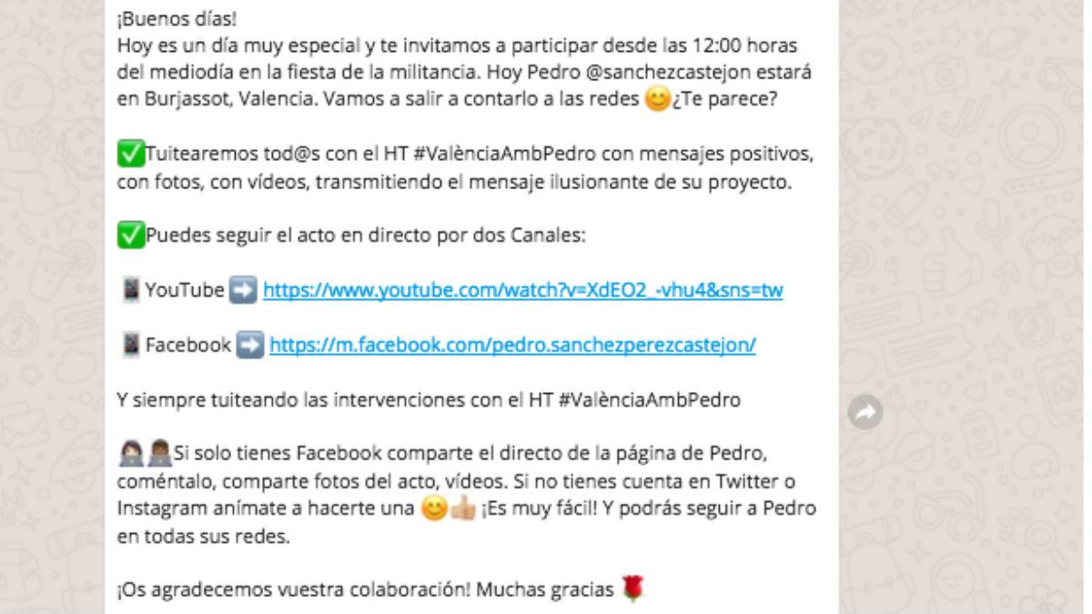 Mensaje del equipo de Sánchez a sus seguidores. (Foto: OKD)