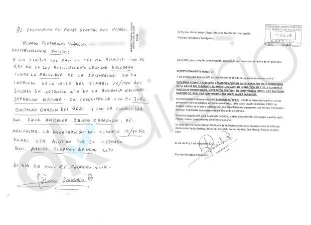 Denuncia contra Baltasar Garzón presentada en la Fiscalía General del Estado y en la Fiscalía Anticorrupción.
