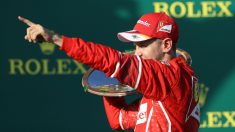 Vettel celebra la victoria en Australia. (Getty)