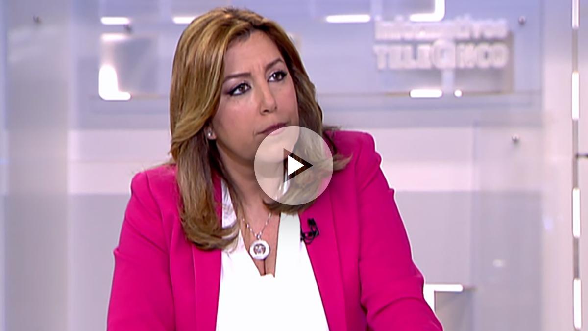 La precandidata a las primarias del PSOE, Susana Díaz, en Informativos Telecinco. (Foto: OKD)