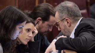 Irene Montero, Pablo Iglesias y Juan Carlos Girauta, en el Congreso (Fotos: Francisco Toledo / OKDIARIO)