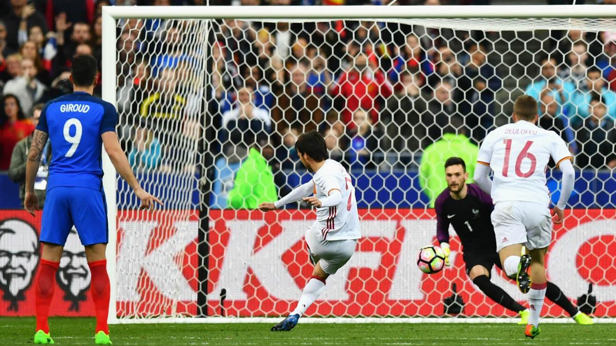 Silva marca el 0-1. (Getty)