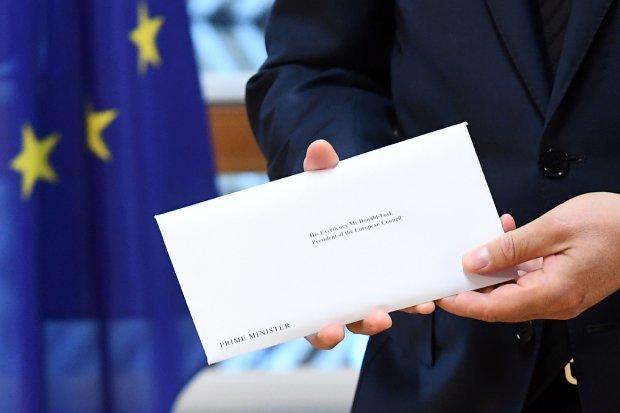 Detalle de la carta de Theresa May a Donald Tusk Foto: Getty