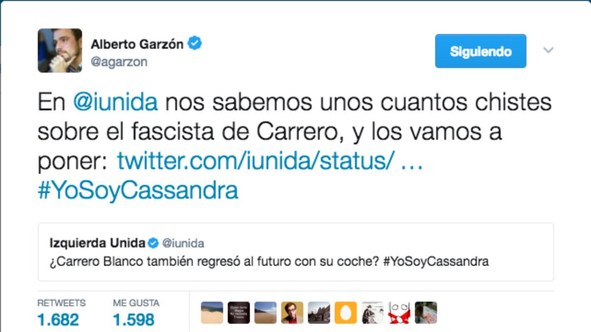Los tuits de apoyo de Izquierda Unida a Cassandra y que desafían a la Audiencia Nacional