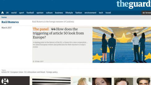 Entrada de Raül Romeva en la web de 'The Guardian', como «ministro de Asuntos Exteriores de Cataluña».