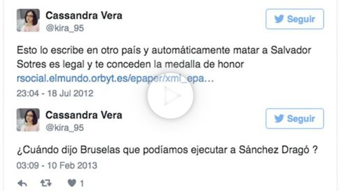 Mensajes publicados por Cassandra Vera, condenada a un año de cárcel por enaltecimiento del terrorismo.