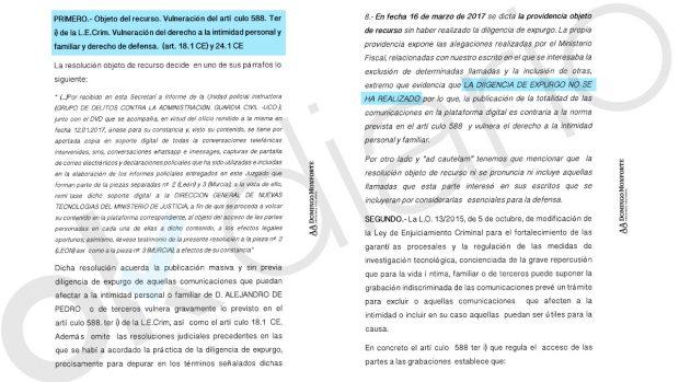 Recurso del investigado en Púnica, Alejandro de Pedro.
