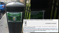 Papeleras de Barajas han aparecido con carteles ilegales del Ayuntamiento como recoge la ordenanza. (Foto: TW)