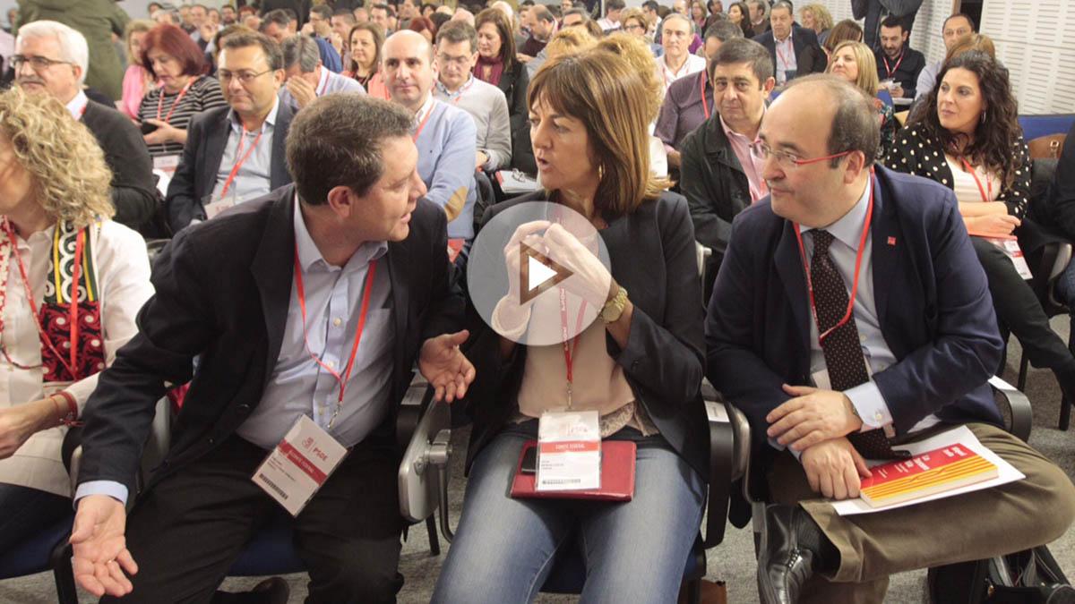 García-Page, Mencía e Iceta , en el Comité Federal del PSOE. (Foto: Francisco Toledo)