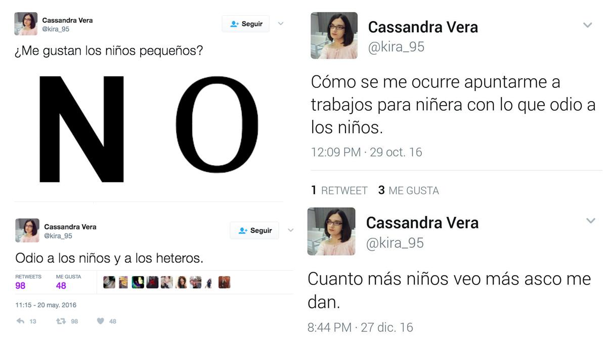 Mensajes publicados por Cassandra Vera en su cuenta de Twitter.