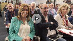 Susana Díaz junto a Javier Lambán en el Comité Federal del PSOE. (Foto y vídeo: Enrique Falcón y Francisco Toledo)