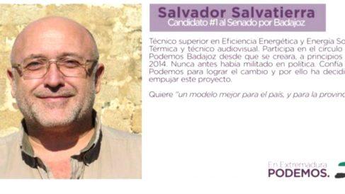 El perfil del candidato Salvador Salvatierra en la web de Podemos Extremadura.